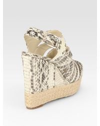 Kors by Michael Kors | Natural Snake-Print Leather Espadrille Wedge Sandals | Lyst