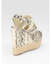 Kors by Michael Kors - Natural Snake-Print Leather Espadrille Wedge Sandals - Lyst
