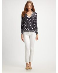 MICHAEL Michael Kors | Gray Inside-out Polka Dot Sweater | Lyst