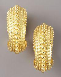 Oscar de la Renta - Metallic Textured Hoop Earrings - Lyst