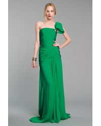 Oscar de la Renta | Green One-shoulder Silk-chiffon Gown | Lyst