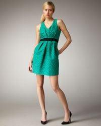 Shoshanna - Green Floral Jacquard Dress - Lyst