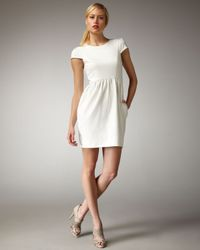 Shoshanna - White Cap-sleeve Shift Dress - Lyst