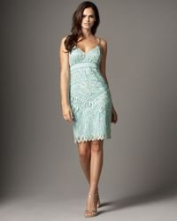 Sue Wong | Green Embroidered Sheath Dress | Lyst