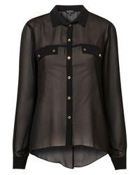 TOPSHOP - Black Slit Back Chiffon Shirt - Lyst
