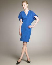 Saint Laurent   Blue Kimono-Sleeve Taffeta Dress   Lyst