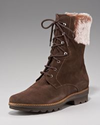 Aquatalia - Brown Weatherproof Faux-fur-cuff Boot - Lyst