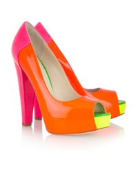 Brian Atwood | Orange Alima Colorblock Fluorescent Platform Pump | Lyst