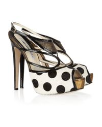 Brian Atwood | Black Aura Polka-dot Calf Hair Sandals | Lyst