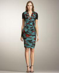Burberry Prorsum | Green Printed Inset Dress | Lyst