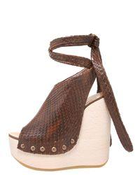 Chloé - Brown Python Tie-up Wedge Clog - Lyst