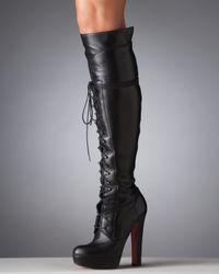Christian Louboutin | Black Nardja Lace-up Platform Boot | Lyst