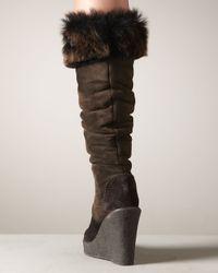 Donna Karan - Brown Fur-Trim Wedge Boot - Lyst