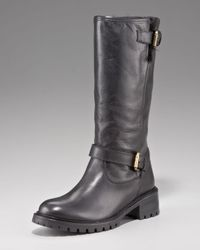 Fendi | Black Fur-Lined Motorcycle Boot | Lyst