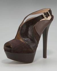 Fendi - Brown Stamped Lizard Cutout Platform Sandal - Lyst