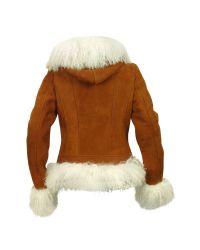 FORZIERI - Brown Mongolian Fur-trim Shearling Hooded Jacket - Lyst