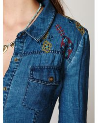 Free People | Blue Linen Chambray Shirtdress | Lyst