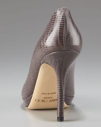 Jimmy Choo | Gray Snake-print Leather Platform Pump | Lyst