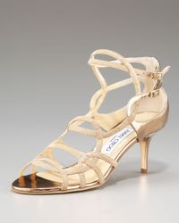 Jimmy Choo | Natural Strappy Low-heel Sandal | Lyst