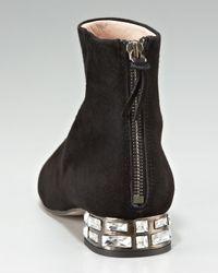 Miu Miu - Black Jewel-Heel Zip Bootie - Lyst