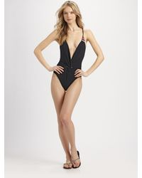 Mara Hoffman | Black One-Piece Twist-Front Swimsuit | Lyst