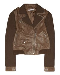 Paul & Joe | Brown Bradley Leather and Knitted Cotton Jacket | Lyst