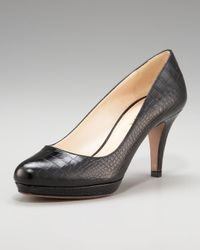 Prada - Black Exclusive Crocodile-Print Platform Pump - Lyst