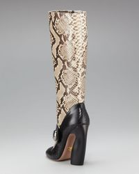 Prada | Black Bi-color Python Mary Jane Boot | Lyst