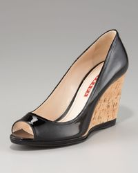 Prada | Black Peep-Toe Wedge Pump | Lyst