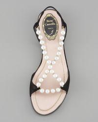 Rene Caovilla - Black Bead-strap Flat Sandal - Lyst