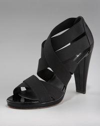 Stuart Weitzman   Black Elastic Strappy Sandal   Lyst