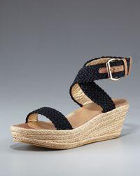 Stuart Weitzman | Black Crocheted Ankle-wrap Espadrille | Lyst