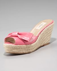 Valentino | Pink Mena Patent Espadrille Slide | Lyst