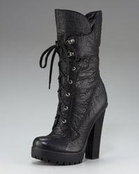Vera Wang Lavender | Black Platform Lace-up Boot | Lyst
