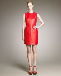 Saint Laurent | Red Leather Dress | Lyst