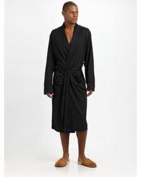 American Essentials - Black Silk/cotton Robe for Men - Lyst