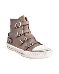 Ash | Brown Taupe Leather Virgin Buckled Hi-top Sneakers | Lyst