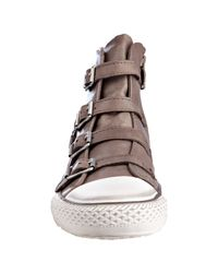 Ash - Brown Taupe Leather Virgin Buckled Hi-top Sneakers - Lyst