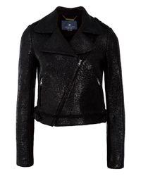 Gryphon | Black Foil Print Biker Jacket | Lyst