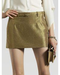 Gucci | Metallic Belted Mini Skirt | Lyst