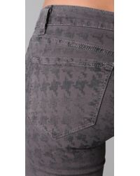 J Brand - Gray Houndstooth Skinny Capri Pants - Lyst
