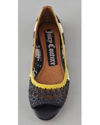Juicy Couture - Blue Flats Prima Woven Peep Toe Flats - Lyst