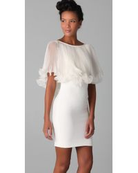 Marchesa | Natural Bateau Dress with Pleated Cape | Lyst