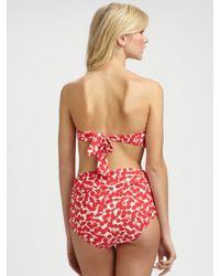 Nanette Lepore | Red Cherry-print Bandeau Bikini Top | Lyst