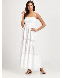 OndadeMar - White Embroidered Cotton Maxi Dress - Lyst