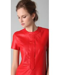 Raoul - Red Mock Neck Leather Dress - Lyst