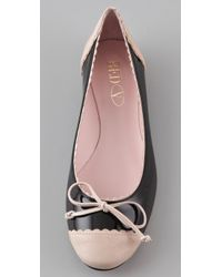 RED Valentino - Black Cap Toe Ballet Flats - Lyst