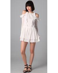 Richard Chai Love | White Long Sleeve Flounce Dress | Lyst