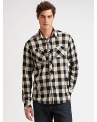 Scotch & Soda - Black Plaid Linen Shirt for Men - Lyst