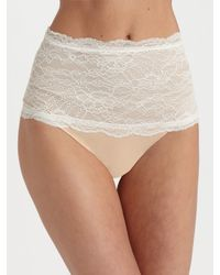Spanx - Natural Haute Contour Chantilly Lace Thong - Lyst